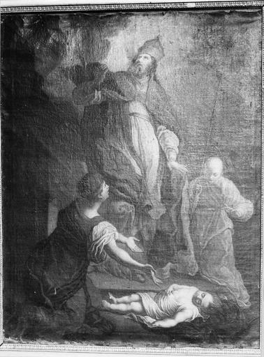 Tableau : saint Loup ou saint Hugues ressuscitant un enfant, huile sur toile, 18e siècle