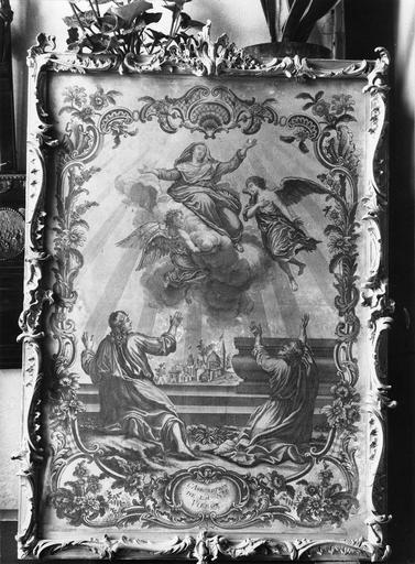 Cadre rocaille en bois doré avec gravure représentant L' Assomption de la Vierge, 18e siècle