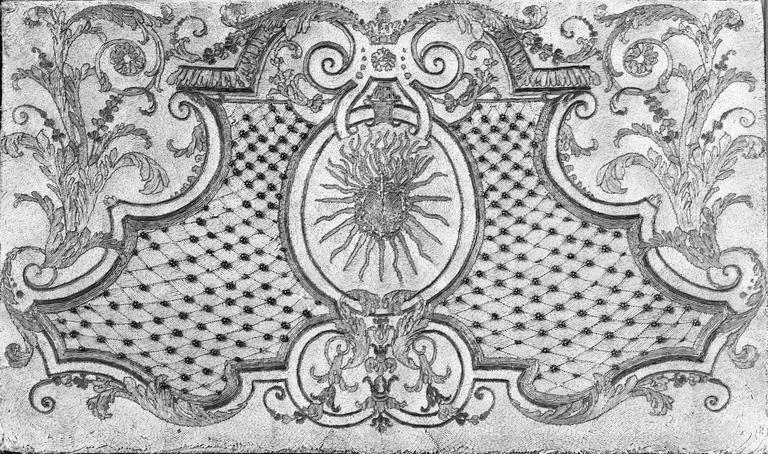 Antependium avec motif central de coeur enflammé, broderie de perles, 18e siècle