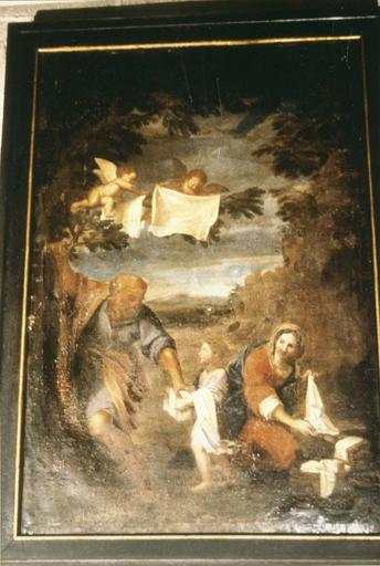 Tableau : La Lessive de la Sainte-Famille, huile sur toile, d'après l' Albane (peintre bolonais), 18e siècle