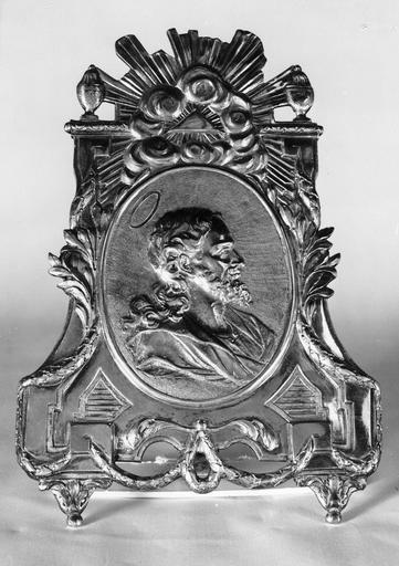 Baiser de paix, décoré du profil du Christ par Etienne Tremblay, vers 1816