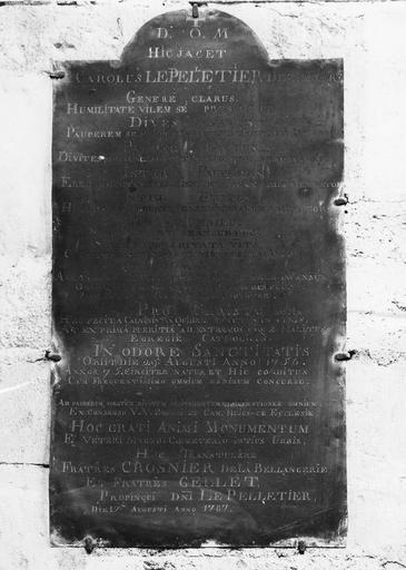 Plaque dédicatoire du jubé commémorative de l'extinction du calvinisme