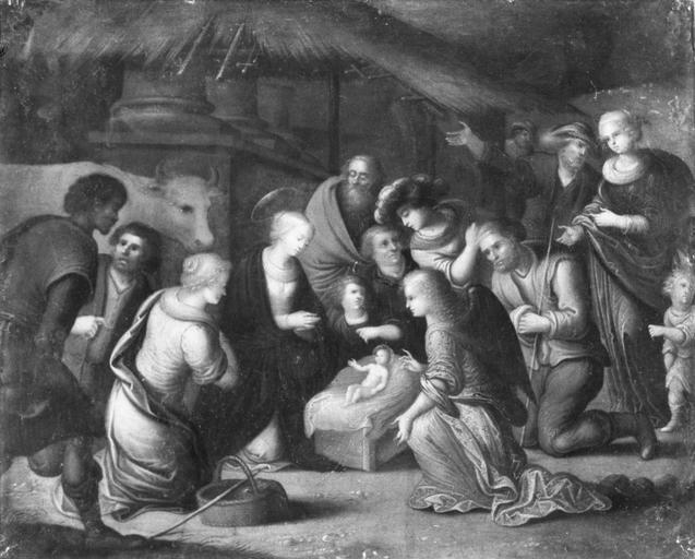 Tableau : L' Adoration des bergers, peinture sur cuivre, 17e siècle, déposé au Trésor d'orléans, après restauration