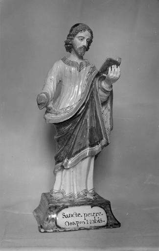 Statuette : saint Pierre, faïence de Nevers, 1686, vue de face