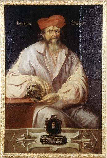 Tableau et son cadre en bois doré : Portrait de Jacques Dubois dit Silvius, huile sur toile, 17e siècle, en médaillon : Pierre Letard, chirurgien