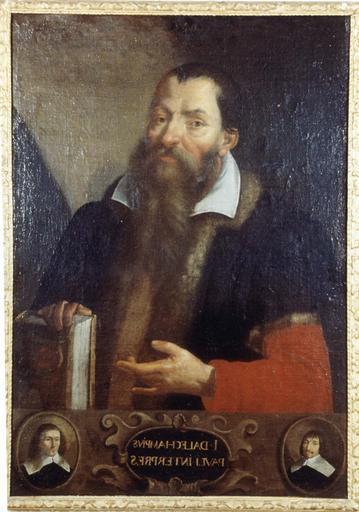 Tableau et son cadre en bois doré : Portrait de Jacques Dalechamps, commentateur de  Paul d'Egine, huile sur toile, 17e siècle, en médaillon : deux chirurgiens non identifiés