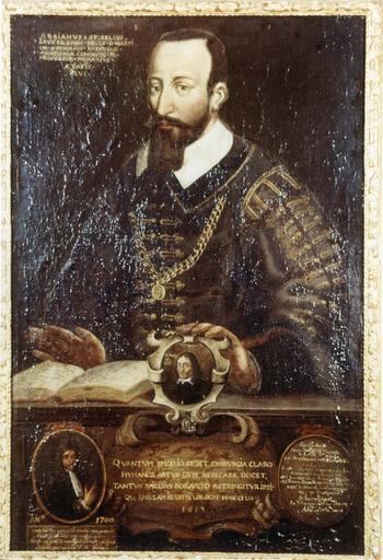 Tableau et son cadre en bois doré : Portrait d'Adrien van Spieghel, huile sur toile, 17e siècle, en médaillon : Robault père et fils, chirurgiens
