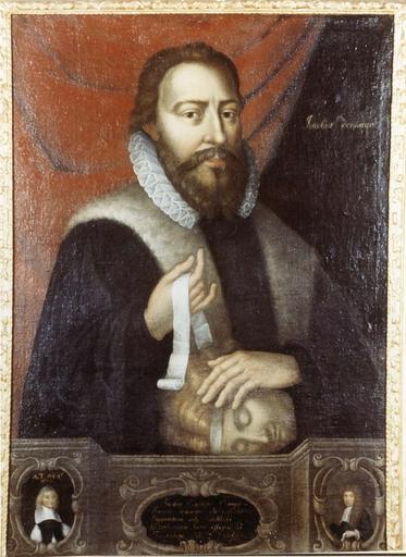 Tableau et son cadre en bois doré : Portrait de Jacobus Demarque, huile sur toile, 17e siècle, en médaillon : Jacques Constant père et fils