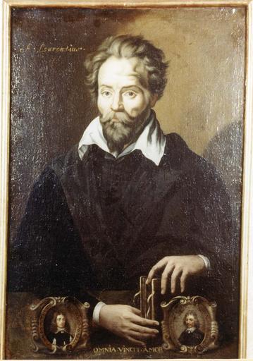 Tableau et son cadre en bois doré : Portrait de Laurentius (André du Laurens), hile sur toile, 17e siècle, en médaillon : Anne Auclerc et Claude Monceau