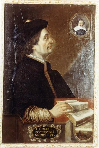 Tableau et son cadre en bois doré : Portrait de Fernel (Jean Pelletier chirurgien), huile sur toile, par Pierre Poncet, première moitié du 17e siècle
