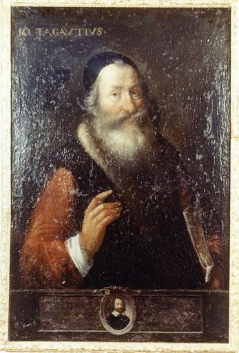 Tableau et son cadre en bois doré : Portrait de Tagautius, huile sur toile, 17e siècle, en médaillon : Authon, chirurgien