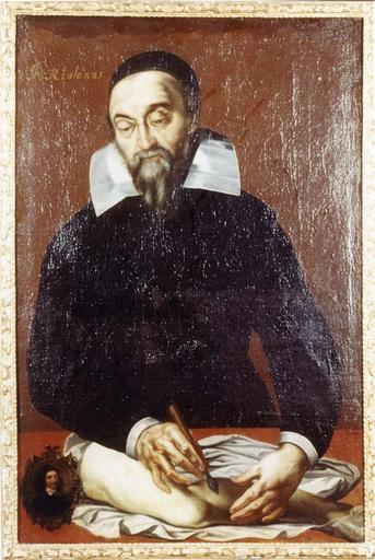 Tableau et son cadre en bois doré : Portrait de Riolanus (Riolan, anatomiste), huile sur toile par Sulpice Morel, 17e siècle, en médaillon : Vincent Deltoncy