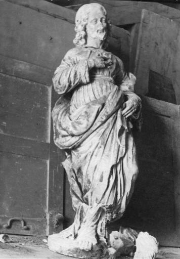 Statue : apôtre ou saint, pierre, 17e siècle, assemblage d'une tête et d'un corps