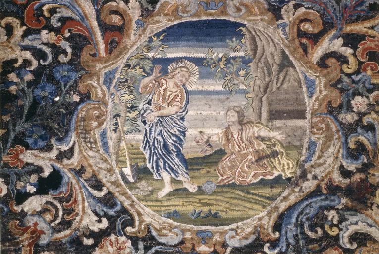 Ancien devant d'autel, tapisserie au petit point, laine et soie, 17e siècle, représentant L' Annonciation et Noli me tangere, détail du Noli me Tangere