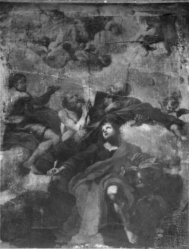 Tableau : saint Jean écrivant (atelier italien ou français ? XVIIe)