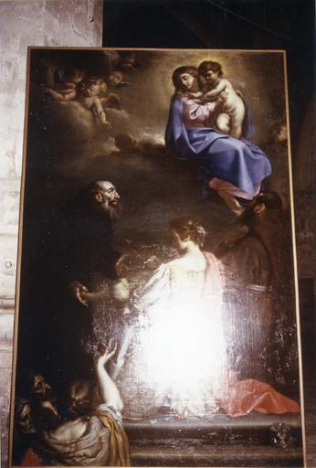Tableau : L'  Apparition de la Vierge à saint François, début du 18e siècle