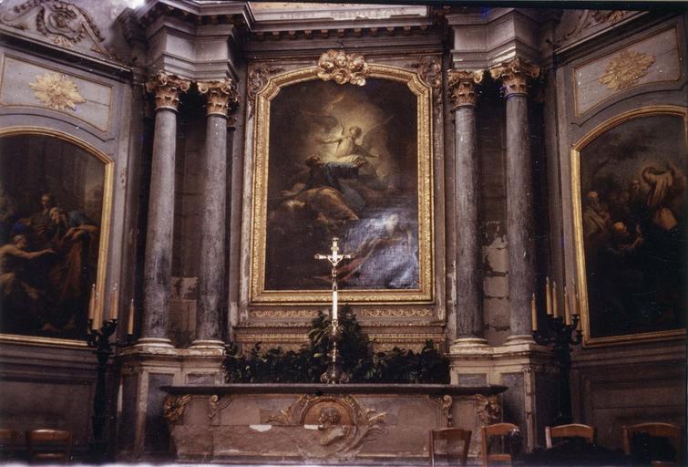 Maître-autel et retable avec Saint Pierre délivré par un ange, huile sur toile par Jean Restout, 18e siècle