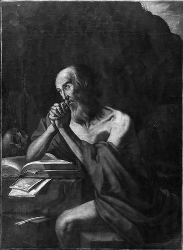 Tableau : Saint Jérome, huile sur toile, 17e siècle