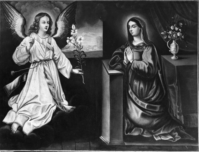 Tableau : L'  Annonciation, huile sur toile, école française, fin du 16e siècle