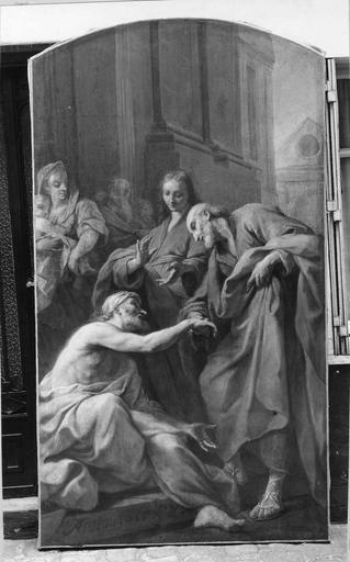 Tableaux : Saint Pierre guérissant un infirme, huile sur toile par Jean Restout, 1738