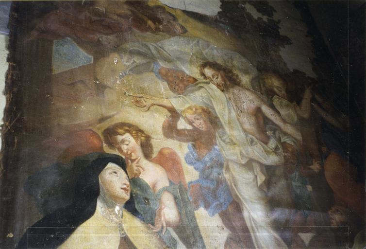 Tableau : L' Apparition du Christ à sainte Thérèse et saint Jean de la croix, copie d'après J.B. Corneille, détail de sainte Thérèse et du Christ