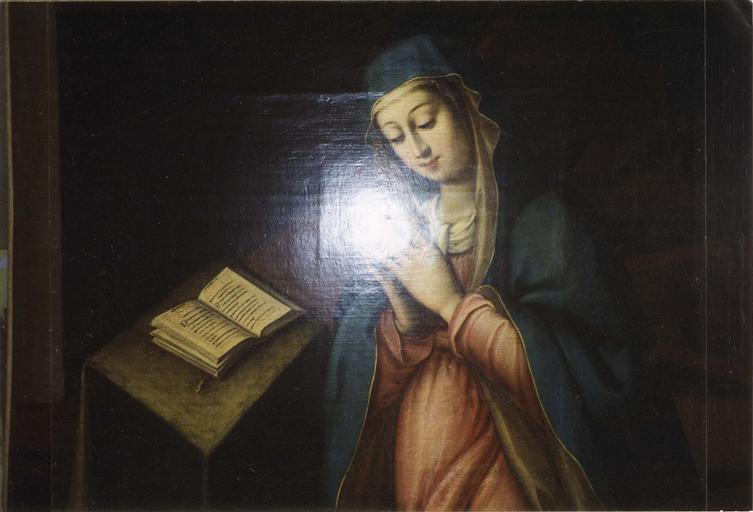 Tableau : Le songe de saint Joseph, détail de la Vierge, après restauration