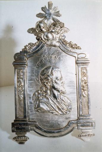 Baiser de paix, argent, par J.A.J. Loque, 1807, décorée du buste du Christ