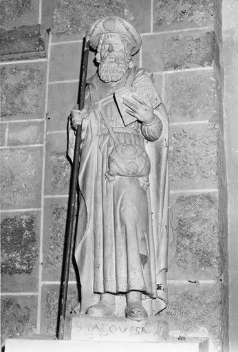 Statue : saint Jacques, pierre badigeonnée, 16e siècle