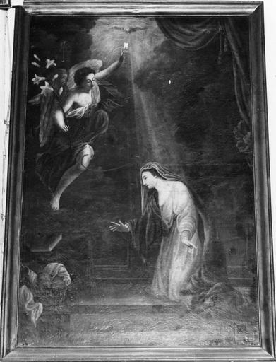 Tableau : L' Annonciation, huile sur toile, 18e siècle