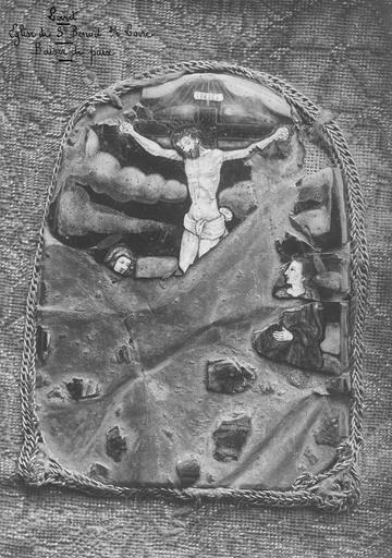 Baiser de paix, palque émaillée sur broderie, 16e siècle, détail de la plaque émaillée représentant une Crucifixion avec la Vierge et saint Jean