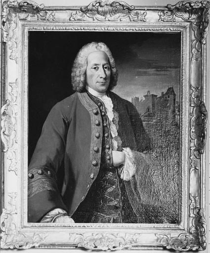 Tableau et son cadre : Portrait de Sidoine Seguier (1738-1773), huile sur toile, 18e siècle