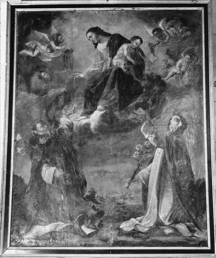 Tableau : L' Institution du rosaire, par Pierre Poncet (1574-1640), huile sur toile, 17e siècle