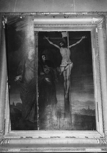 Tableau : La Crucifixion, peinture sur bois, 17e siècle