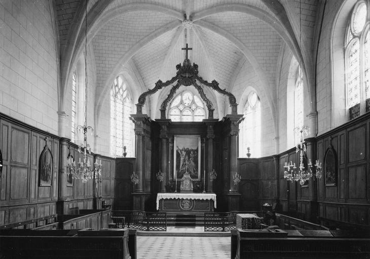 autel, retable, tabernacle, et boiseries du choeur, bois sculpté et marbre, 18e siècle