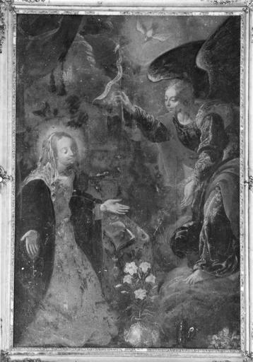 Tableau et son cadre : L' Annonciation, huile sur toile, 16e - 17e siècle