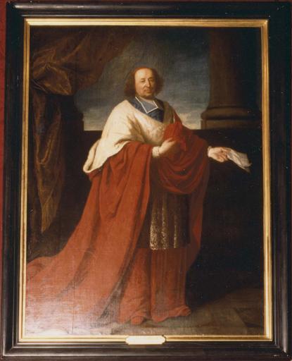 tableau : Cardinal Pierre du Cambout de Coislin, évêque d'Orléans, huile sur toile, 17e-18e siècle