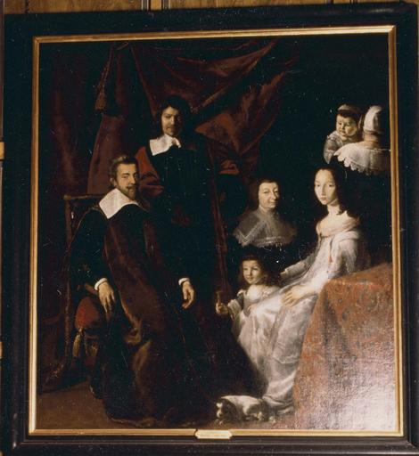 Tableau : La Famille Habert de Montmor, huile sur toile, 17e siècle