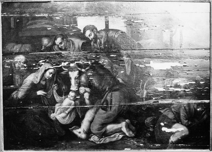 Tableau : L' Adoration des bergers, panneau peint, 16e siècle, avant restauration