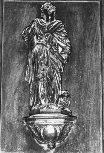 Statuette de chaire à précher, représentant saint Marc, bois, 17e siècle, oeuvre volée