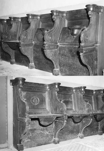 Stalles, bois sculpté, 17e siècle, détail de la partie gauche d'une rangée de huit