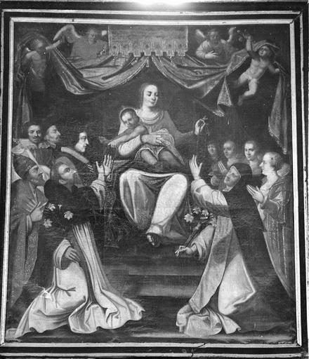 Tableau : Vierge du rosaire sainte Catherine de Sienne et saint Dominique, huile sur toile, première moitié du 17e siècle