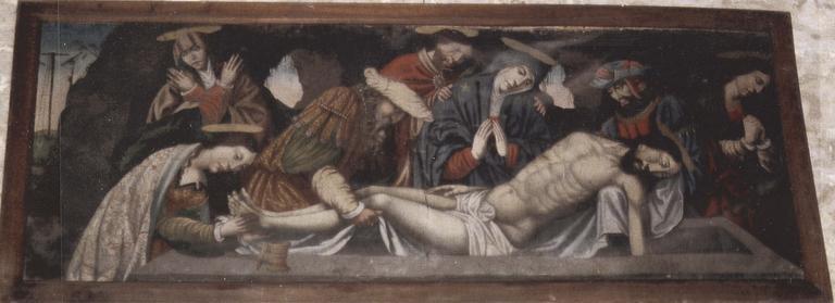 Devant d'autel représentant la Mise au tombeau, huile sur toile, 16e siècle