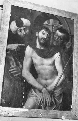 Tableau : Ecce Homo, peinture sur bois, école flamande, 16e siècle