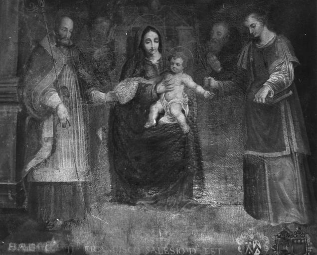 Tableau : La Vierge à l'Enfant entre saint François de Sales et un saint Diacre, par Etienne Pinardeau, 1671