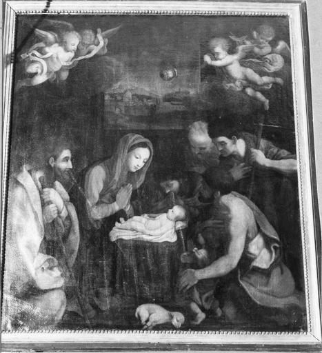 Tableau : L' Adoration des bergers, huile sur toile, fin du 16e siècle