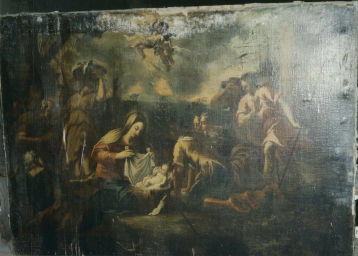 Tableau : L' Adoration des bergers, huile sur toile, fin 17e siècle