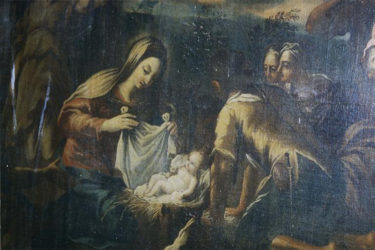 Tableau : L' Adoration des bergers, huile sur toile, fin 17e siècle, détail de la Vierge découvrant l'Enfant Jésus