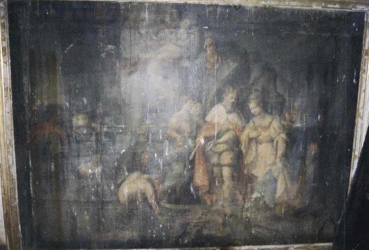 Tableau : Salomon et la reine de Saba, huile sur toile, début du 17e siècle
