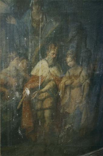 Tableau : Salomon et la reine de Saba, huile sur toile, début du 17e siècle, détail des figures de Salomon et de la reine de Saba