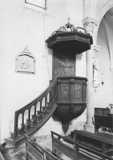 Chaire à prêcher, bois sculpté 18e siècle